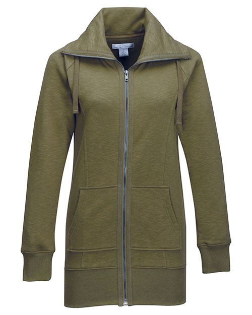 Tri-Mountain FL688 Women's 60% Cotton/40% Polyester Full Zip Knit Jacket ARMY GREEN at bigntallapparel