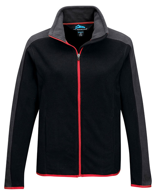 Tri-Mountain FL7381 Women's 100% Polyester Anti-Pilling Micro fleece (double brushed) BLACK/CHARCOAL/RED at bigntallapparel