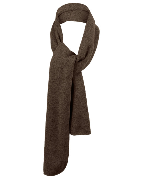 Port Authority FS05  Heathered Knit Scarf Chocolate Heather/Black at bigntallapparel