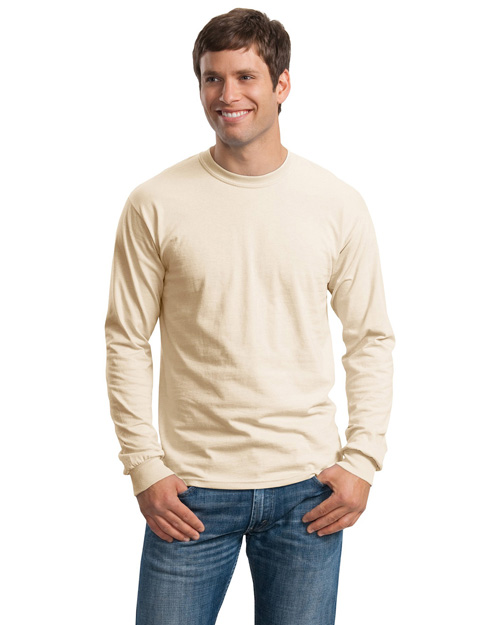 Gildan G2400 Mens Ultra 100% Cotton Long Sleeve T Shirt Natural at bigntallapparel