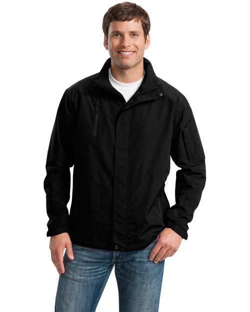 Port Authority Signature J304 Mens All Season II Jacket Black/Black at bigntallapparel