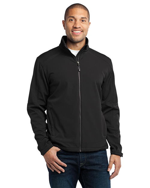 Port Authority J316 Men Traverse Soft Shell Jacket Black/Deep Grey at bigntallapparel