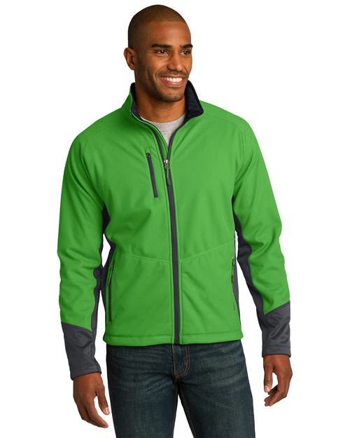 Port Authority J319 Men Vertical Soft Shell Jacket Grn Grs/Mag Gy at bigntallapparel