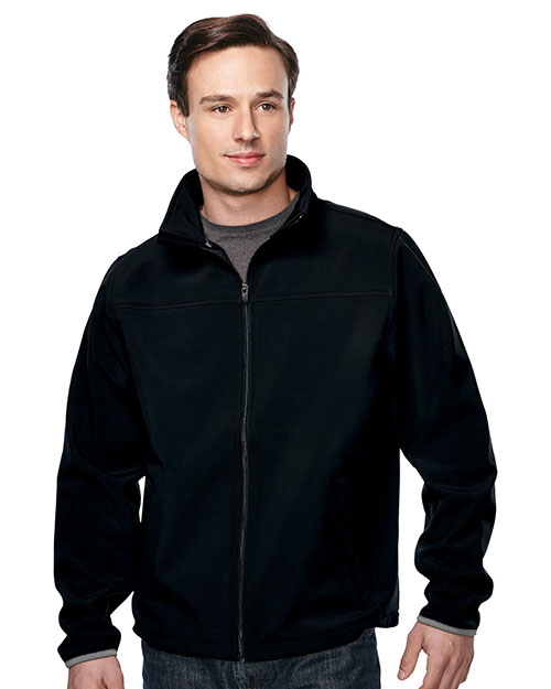 Tri-Mountain J6380 Men's jacket with top yoke and slash pocket BLACK/BLACK at bigntallapparel