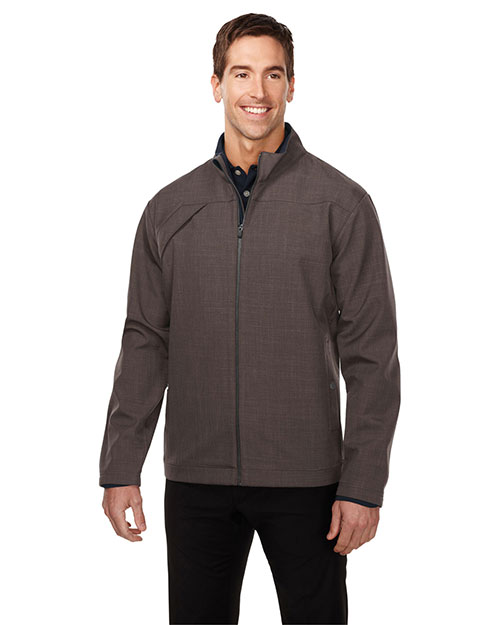 Tri-Mountain J6468 Men Bonded Zip Jacket W/Tmp Smoky  Pull, Two Pocket With Snap Closure Brown at bigntallapparel
