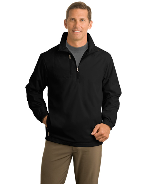 Port Authority J703 Mens 1/2 Zip Wind Jacket Black at bigntallapparel