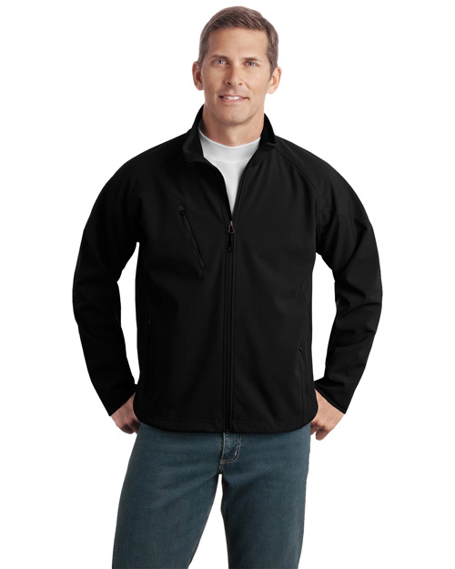 Port Authority J705 Men Textured Soft Shell Jacket Black at bigntallapparel