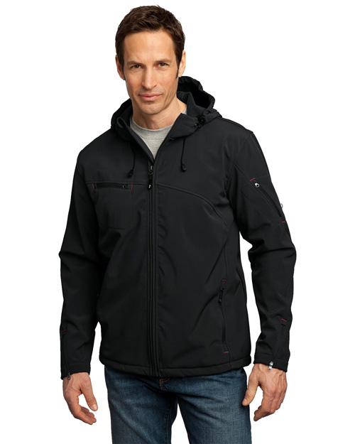 Port Authority Signature J706 Mens Textured Hooded Soft Shell Jacket Black/Engine Red at bigntallapparel