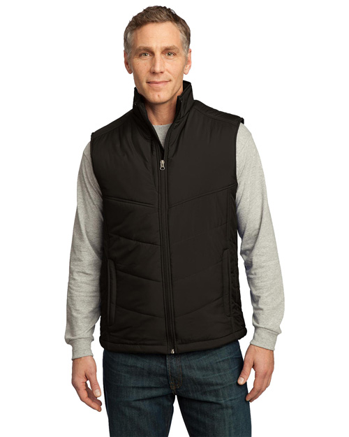 Port Authority Signature J709 Mens Puffy Vest Espresso/Foliage Green at bigntallapparel