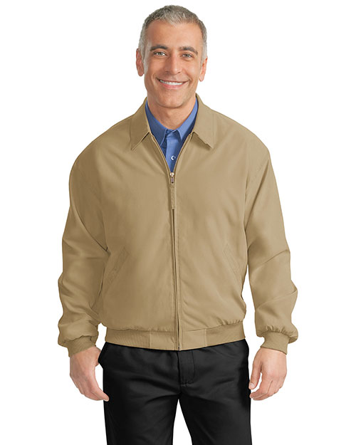 Port Authority J730 Men  Casual Microfiber Jacket Khaki/Solid Bright Navy Linin at bigntallapparel