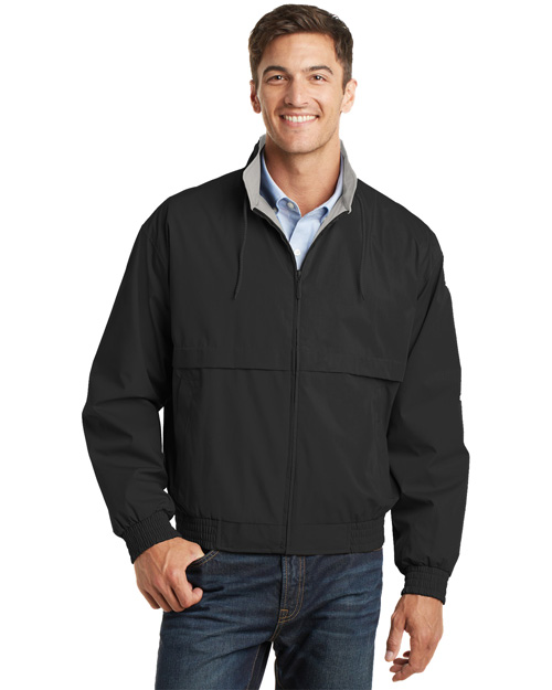 Port Authority J753 Mens Classic Poplin Jacket Black/Stone at bigntallapparel
