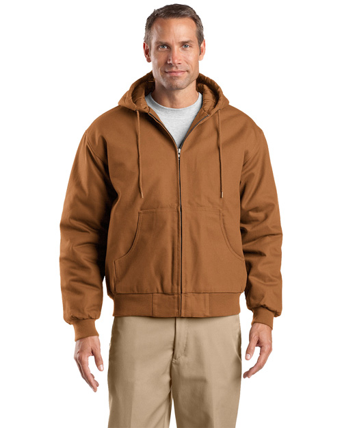 CornerStone J763H Mens Hooded Work Jacket Duck Brown at bigntallapparel