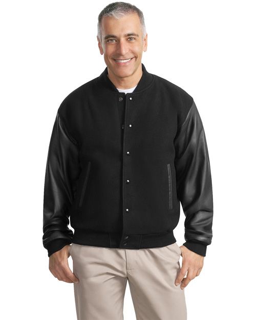 Port Authority J783 Mens Wool And Leather Letterman Jacket Black/Black at bigntallapparel