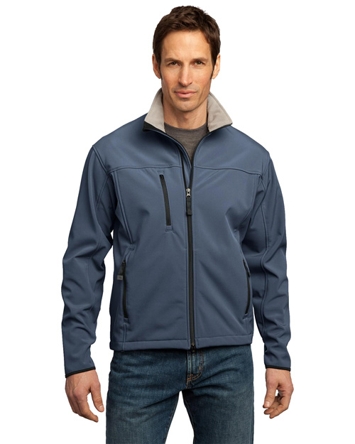 Port Authority J790 Men Glacier Soft Shell Jacket Atlantic Blue/Chrome at bigntallapparel