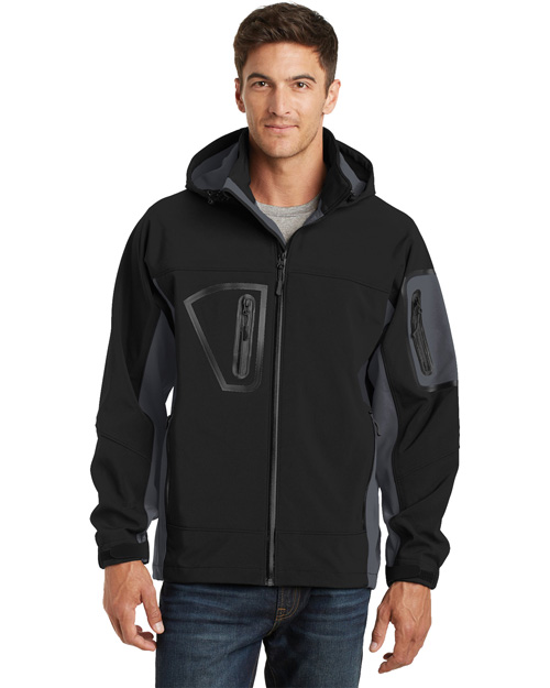 Port Authority J798 Mens Waterproof Soft Shell Jacket Black/Graphite at bigntallapparel