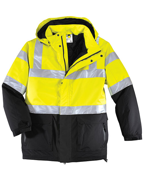 Port Authority J799S Big Mens Safety Heavyweight Parka Safety Yellow/ Black/Reflective at bigntallapparel