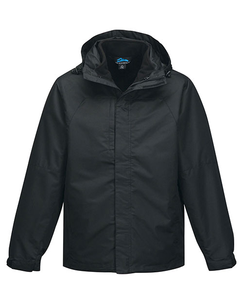 Tri-Mountain J8750 Men's 2 in I 100% Polyester W/R jacket, inside poly fleece jacket BLACK/BLACK at bigntallapparel