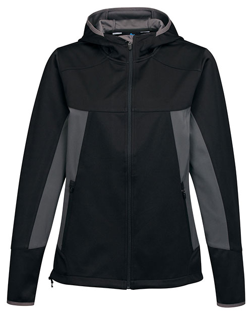 Tri-Mountain JL6158 Women Hoody Jacket W/ Contrast Side Panel And Zip Pockets Black/Charcoal at bigntallapparel