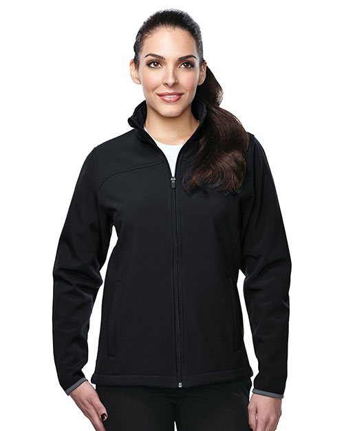 Tri-Mountain JL6380 Women's jacket with top yoke and slash pocket BLACK/BLACK at bigntallapparel