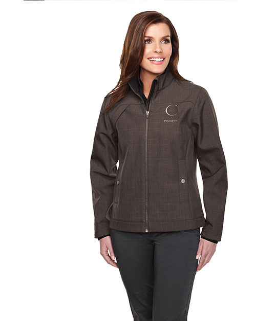 Tri-Mountain JL6468 Women's bonded zip jacket w/TMP smoky zip pull, two pocket with snap closure, BROWN at bigntallapparel
