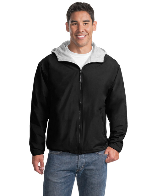 Port Authority JP56 Men Team Jacket Black/Light Oxford at bigntallapparel