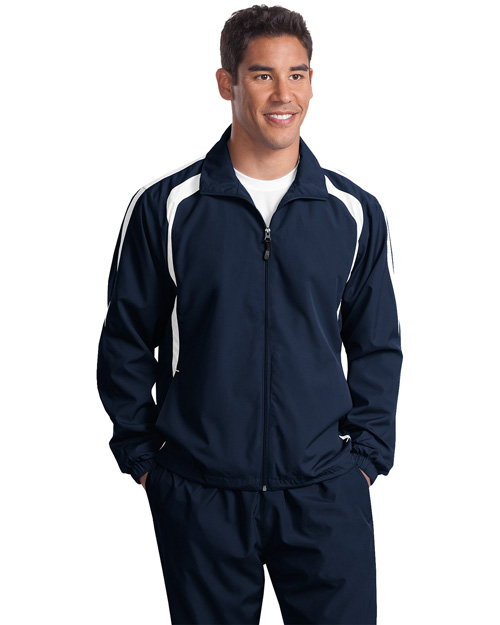 Sport-Tek TJST60 ® Tall Colorblock Raglan Jacket.  Tr Navy/White at bigntallapparel