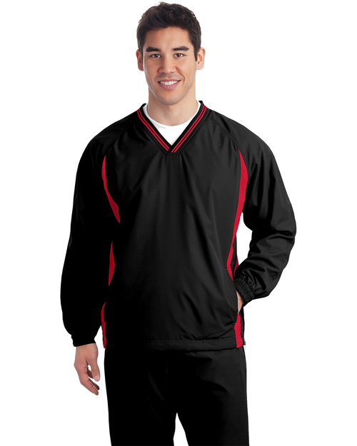 Sport-Tek JST62 Mens Tipped V Neck Raglan Wind Shirt Black/True Red at bigntallapparel