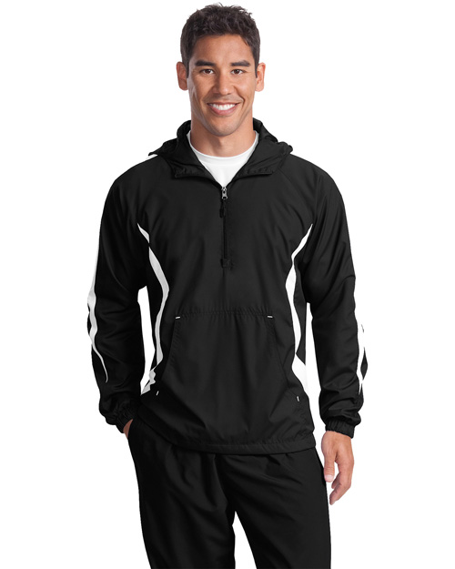 Sport-Tek JST63 Mens Colorblock Raglan Anorak Black/White at bigntallapparel