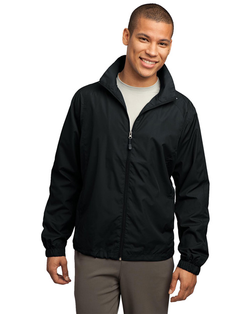 Sport-Tek JST70 Mens Full Zip Wind Jacket Black at bigntallapparel