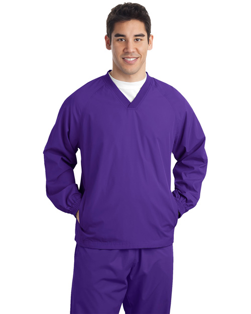 Sport-Tek JST72 Mens V Neck Raglan Wind Shirt Purple at bigntallapparel