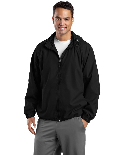 Sport-Tek JST73 Men Hooded Raglan Jacket Black at bigntallapparel