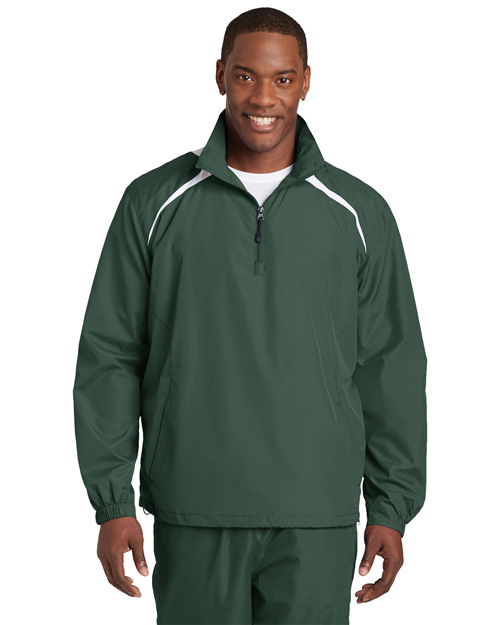 Sport-Tek JST75 Mens 1/2 Zip Wind Shirt Forest Green/White at bigntallapparel