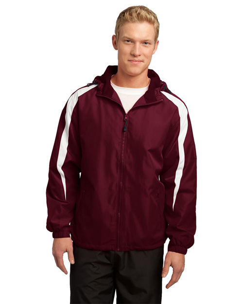 Sport-Tek JST81 Men Fleece-Lined Colorblock Jacket Maroon/White at bigntallapparel