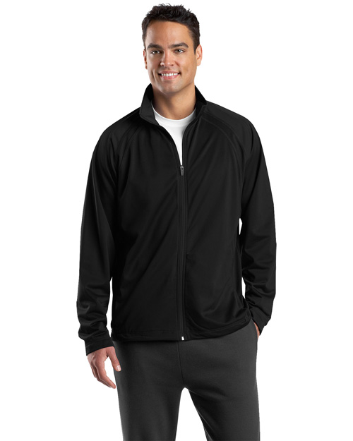 Sport-Tek JST90 Mens Tricot Track Jacket Black/Black at bigntallapparel