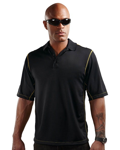 Tri-Mountain K006 Mens 100% Polyester Micro mesh 3 button polo BLACK/GOLD at bigntallapparel