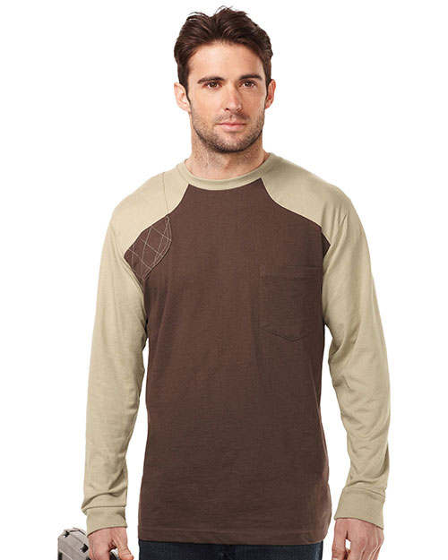Tri-Mountain K086LS Men Ls Shooter Tee W/Contrast Quilted Patch Brown/Khaki at bigntallapparel