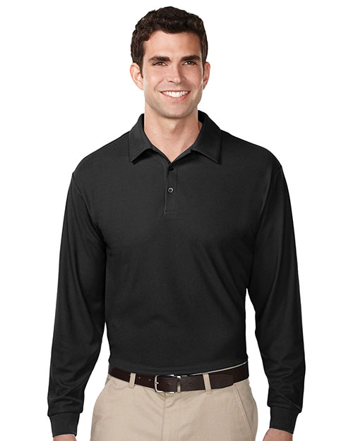 Tri-Mountain K107LS Mens 100% Polyester UC Long Sleeve Golf Shirt. BLACK at bigntallapparel