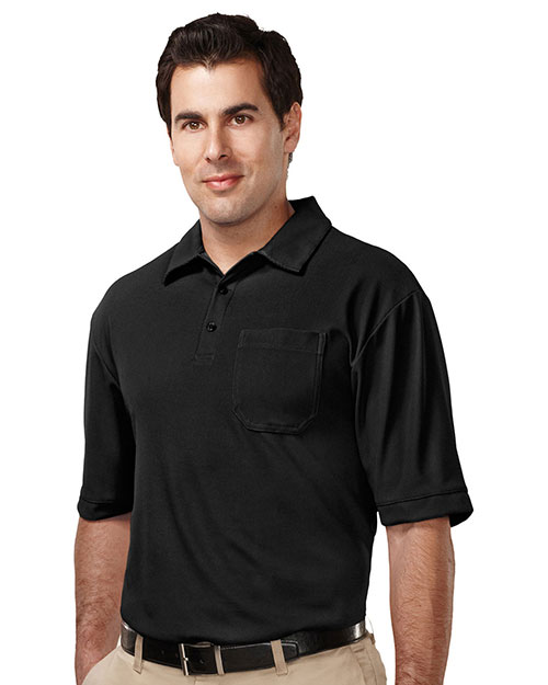 Tri-Mountain K107P Men 100% Polyester Uc S/S Golf Shirt Black at bigntallapparel