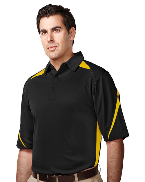 Tri-Mountain K119 Mens 100% Polyester Birdeye Polo BLACK/GOLD at bigntallapparel