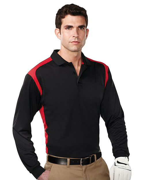 Tri-Mountain K145LS Men 100% Polyester Long Sleeve Knit Shirt W/Rib Cuff, 3 Button Placket Black/Red at bigntallapparel