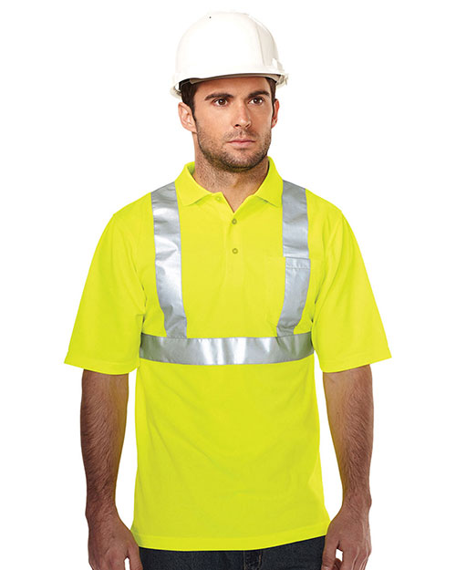 Tri-Mountain K222G Men 100% Polyester Birdeye 3 Button Polo Lime Green at bigntallapparel