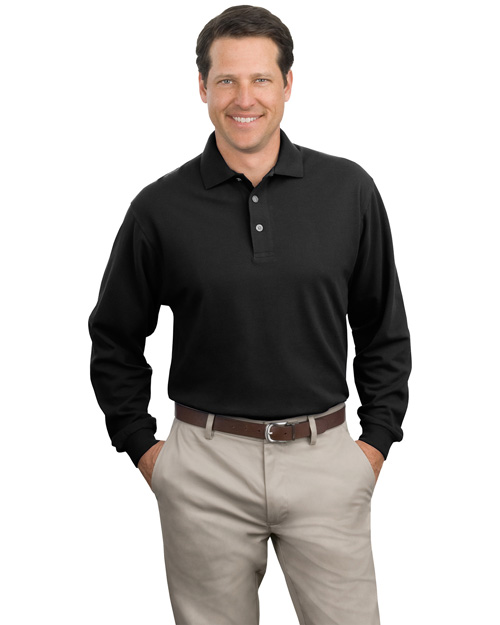 Port Authority K320 Mens Long Sleeve Pique Knit Polo Sport Shirt Black at bigntallapparel