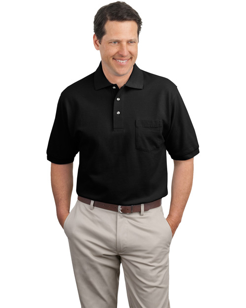 Port Authority K420P Mens Pique Knit Polo Sport Shirt with Pocket Black at bigntallapparel