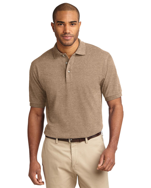 Port Authority K420 Men Pique Knit Sport Shirt Khaki Heather at bigntallapparel
