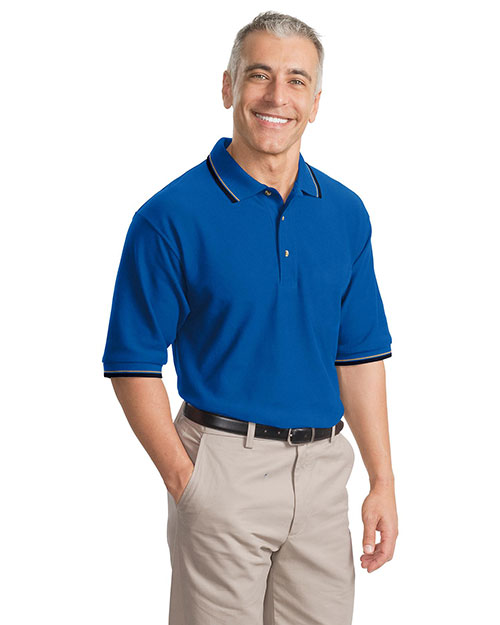 Port Authority Signature K431 Men  Cool Mesh Polo Sport Shirt With Tipping Stripe Trim Royal/Navy/Khaki at bigntallapparel