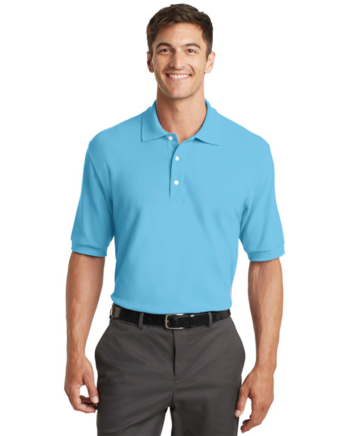 Port Authority K448 Mens 100% Pima Cotton Polo Sport Shirt Blue Surf at bigntallapparel