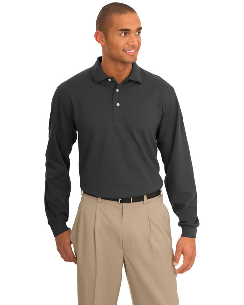 Port Authority Signature K455LS Mens Rapid Dry Long Sleeve Sport Shirt Charcoal at bigntallapparel