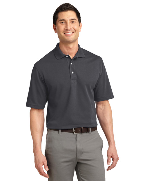 Port Authority Signature K455 Mens Rapid Dry Polo Sport Shirt Charcoal at bigntallapparel