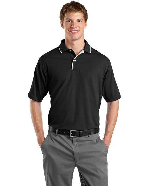 Sport-Tek K467 Men Dri Mesh Sport Shirt With Striped Collar Black/White at bigntallapparel