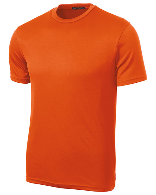 Sport-Tek K468 Mens Dri Mesh Short Sleeve T Shirt Bright Orange at bigntallapparel